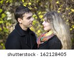 portrait of a boy and a girl in ... | Shutterstock . vector #162128405