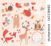 acorn,animal,autumn,background,bear,bird,branch,bunny,butterfly,cartoon,character,collection,colorful,cute,deer
