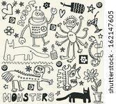 crazy doodle set  hand drawn... | Shutterstock .eps vector #162147605