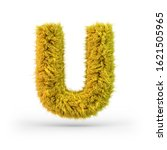 Capital letter U. Uppercase. Yellow fluffy and furry font. 3D rendering