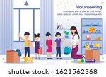 volunteering in kindergarten ...   Shutterstock .eps vector #1621562368