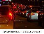 Car At Night And Traffic Jams.