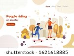 mom and daughter ride kick... | Shutterstock .eps vector #1621618885