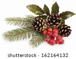 Branches Of Holly  Pine Cones ...