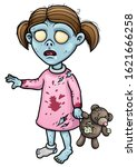 Cartoon Zombie Girl With Torn...