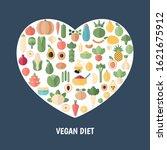 vegan diet concept with food... | Shutterstock .eps vector #1621675912
