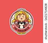 cute housemaid character logo... | Shutterstock .eps vector #1621714828