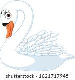 Cartoon Cute Swan Isolated On...