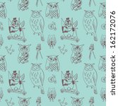 seamless pattern with cute owls ... | Shutterstock . vector #162172076