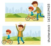 father teaches his little kid... | Shutterstock . vector #1621819435
