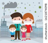family in masks because of fine ... | Shutterstock .eps vector #1621874098
