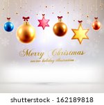 christmas balls and stars. xmas ... | Shutterstock .eps vector #162189818