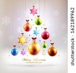 christmas balls and stars. xmas ... | Shutterstock .eps vector #162189962