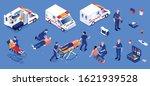 ambulance isometric set of... | Shutterstock .eps vector #1621939528