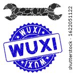 Mosaic wrench icon and grunge stamp seal with Wuxi phrase. Mosaic vector is composed from wrench pictogram and with randomized elliptic items. Wuxi stamp seal uses blue color, and grunge surface.