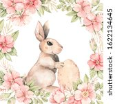 happy easter. bunny and pink...   Shutterstock . vector #1622134645