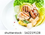 caesar salad with grilled... | Shutterstock . vector #162219128