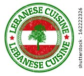 Grunge rubber stamp with Lebanon flag and the text Lebanese Cuisine written inside, vector illustration
