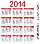 2014 calendar | Shutterstock .eps vector #162240026
