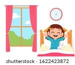 happy cute little kid girl wake ... | Shutterstock .eps vector #1622423872