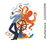 funny cartoon sailor smokes a... | Shutterstock .eps vector #1622433598