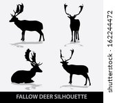 Fallow Deer Silhouette Icons...