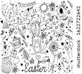 black line set of easter and... | Shutterstock . vector #1622722642