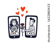 online dating concept. young... | Shutterstock .eps vector #1622883415