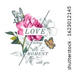 love slogan with flowers and... | Shutterstock .eps vector #1623012145