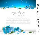 blue christmas greeting card...
