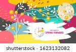 spring forward banner. daylight ... | Shutterstock .eps vector #1623132082