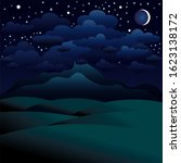 night landscape with the moon... | Shutterstock . vector #1623138172