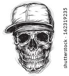 sketchy skull with bandanna and ... | Shutterstock .eps vector #162319235