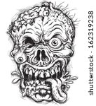sketchy detailed zombie head | Shutterstock .eps vector #162319238