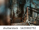 Scary Iron Staircase In A Cave