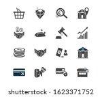 economy icon set and diamond...