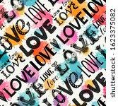 seamless pattern of words. love.... | Shutterstock .eps vector #1623375082