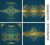 vector set of vintage cards.... | Shutterstock .eps vector #162358445