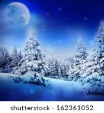 winter night in fairy snowy fir ... | Shutterstock . vector #162361052
