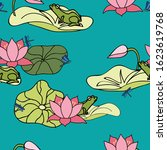 Its a frogs life. frog floating on lily pad among lotus flowers. seamless vector repeat surface pattern design.