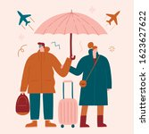 couple of tourists choosing... | Shutterstock .eps vector #1623627622