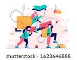 young men carry attractive girl ... | Shutterstock .eps vector #1623646888