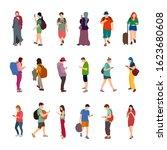 people using smart phones... | Shutterstock .eps vector #1623680608