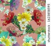 poppies flowers seamless...   Shutterstock . vector #1623858595