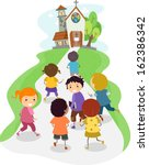 illustration of kids heading... | Shutterstock .eps vector #162386342