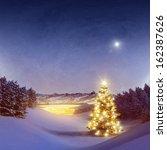 illuminated christmas tree in... | Shutterstock . vector #162387626
