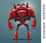 vector red robot | Shutterstock .eps vector #162391535