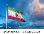Waving Flag Of Iran With...