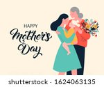 girl are hiding her mom and... | Shutterstock .eps vector #1624063135