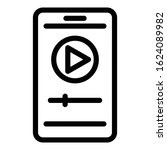 smartphone player icon. outline ...